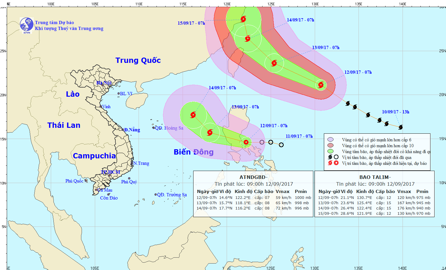 Bão Talim và áp thấp nhiệt đới hướng lên phía Trung Quốc - Ảnh 1.