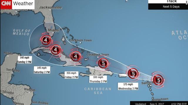Siêu bão Irma tăng cấp độ, đe dọa Mỹ - Ảnh 1.