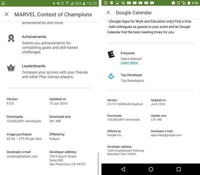 Google Play cho hiển thị kích thước thật của ứng dụng