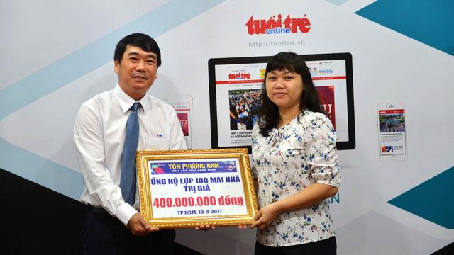 Tôn Phương Nam ủng hộ 400 triệu đồng dựng lại mái nhà vùng bão - Ảnh 1.