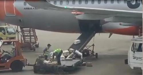 Sa thải 2 nhân viên quăng ném hàng hóa ở sân bay - Ảnh 1.
