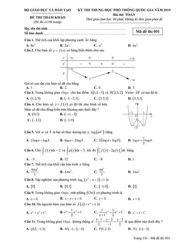 Đề tham khảo thi THPT quốc gia 2019 môn toán - Ảnh 1.