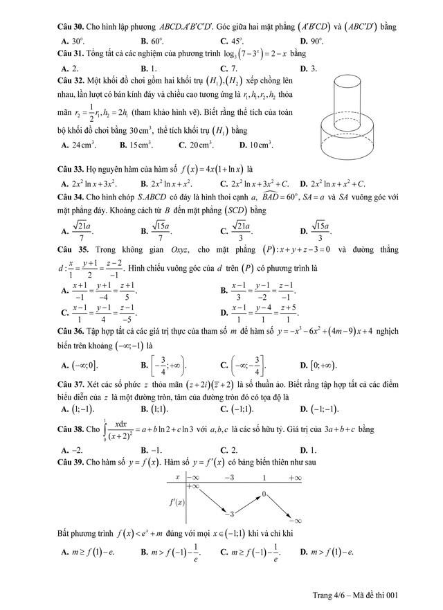 Đề tham khảo thi THPT quốc gia 2019 môn toán - Ảnh 4.