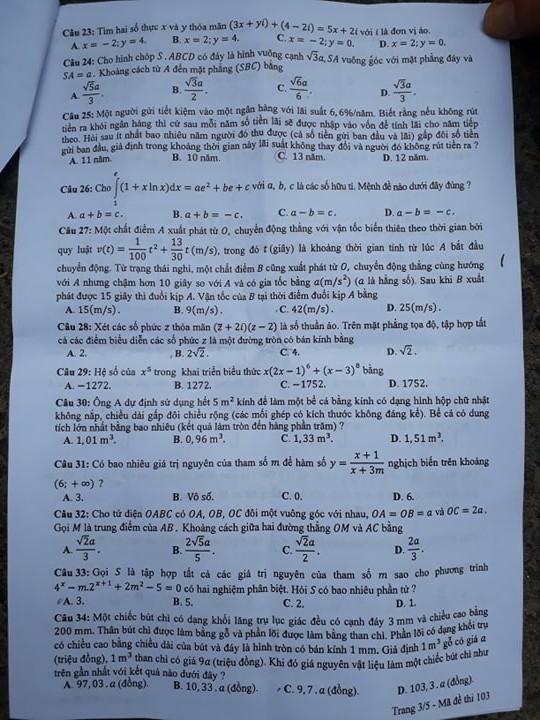 Đề thi toán THPT Quốc gia gồm 50 câu trắc nghiệm - Ảnh 4.