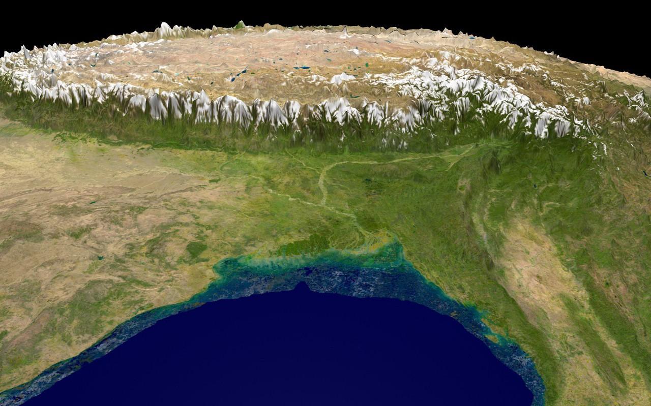 Ngắm ảnh 'nóc nhà thế giới' từ vệ tinh cực hùng vĩ