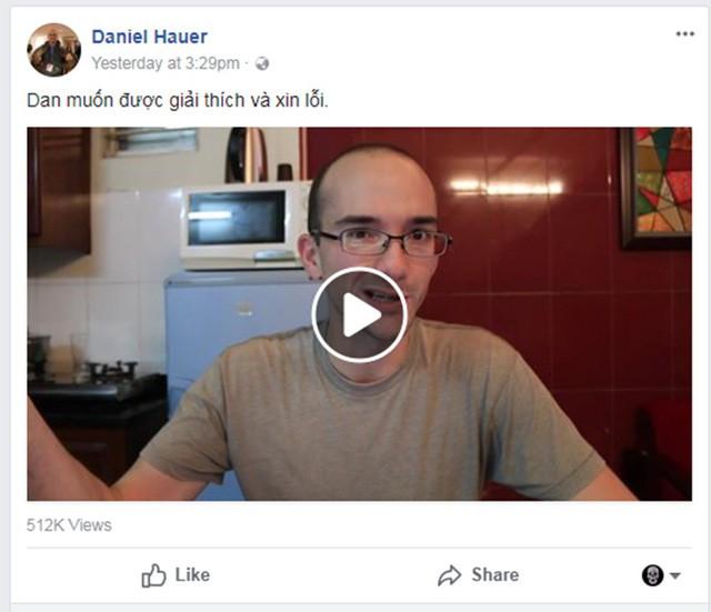Ông Daniel Hauer đăng clip xin lỗi trên Facebook sau khi bị phản ứng - Ảnh chụp màn hình