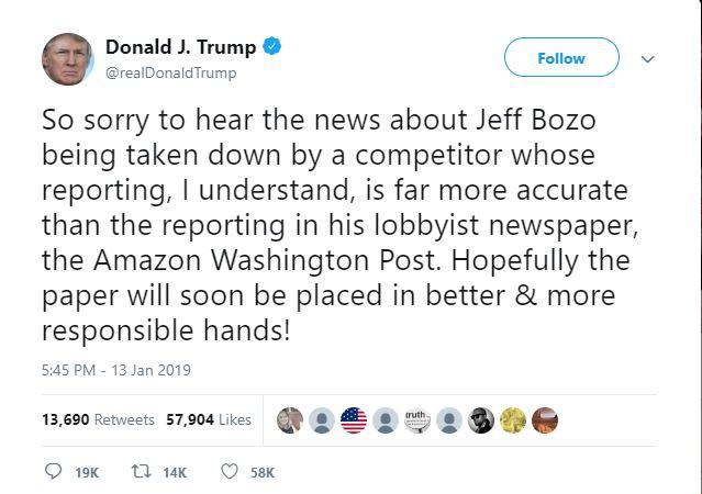 Hết chúc ly hôn may mắn, ông Trump lại móc mỉa ông chủ Amazon - Ảnh 2.