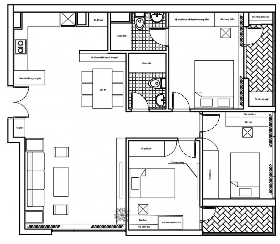 Căn hộ 3 phòng ngủ trở nên sang trọng, hiện đại hơn nhờ chất liệu gỗ tối màu - Ảnh 2.