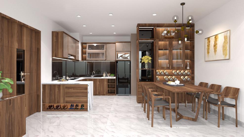 Căn hộ 3 phòng ngủ trở nên sang trọng, hiện đại hơn nhờ chất liệu gỗ tối màu - Ảnh 4.
