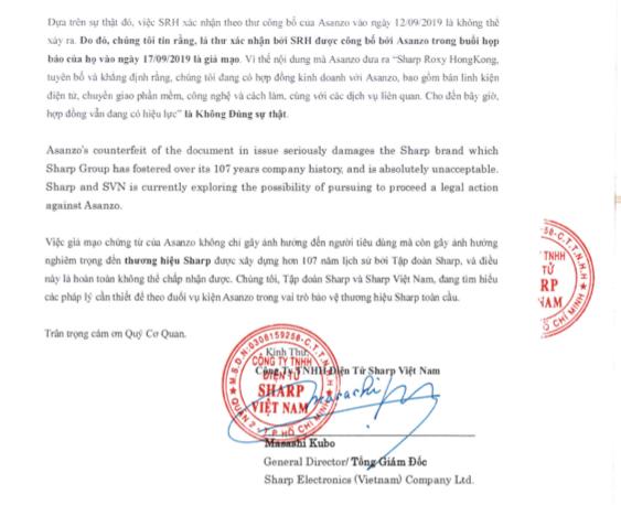 Sharp Việt Nam khẳng định Asanzo giả mạo bằng chứng sở hữu công nghệ - Ảnh 3.