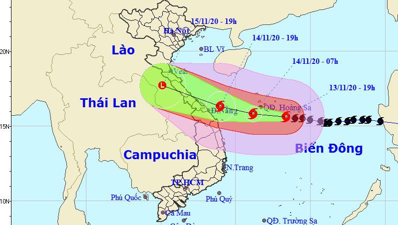 Tin bão khẩn cấp: Bão số 13 mạnh lên, giật cấp 16 hướng vào Hà Tĩnh đến Thừa Thiên - Huế, mưa lớn từ sáng 14/11 - Ảnh 1.