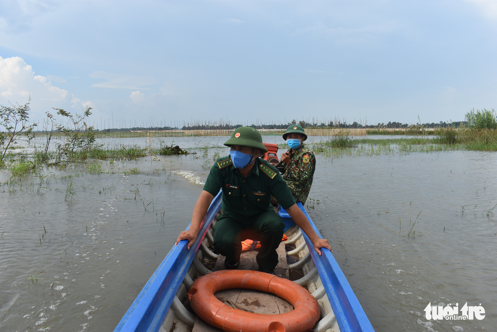 Nước lũ đã tràn đồng giáp biên giới Campuchia, chưa thấy cá tôm - Ảnh 1.