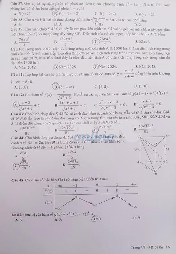 Gợi ý bài giải môn toán thi tốt nghiệp THPT 2020 - Ảnh 4.