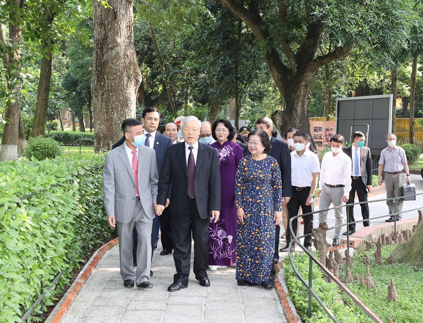 Tổng bí thư, Chủ tịch nước Nguyễn Phú Trọng tại Khu di tích Chủ tịch Hồ Chí Minh tại Phủ Chủ tịch sáng 1-9-2020 - Ảnh: TTXVN