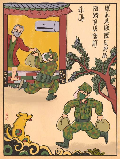 Dân mạng hí hoáy vẽ tranh các anh bộ đội vác rau củ đến từng nhà dân - Ảnh 3.