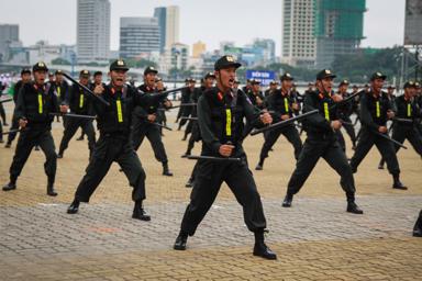 Cảnh sát cơ động biểu diễn bài quyền trong lễ xuất quân bảo vệ APEC. Ảnh: TẤN LỰC