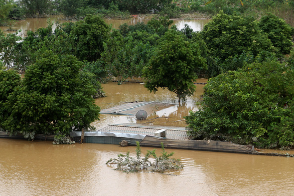 Nước lũ nhấn chìm nhà cửa, vườn tược vùng bãi sông Hồng - Ảnh 2.