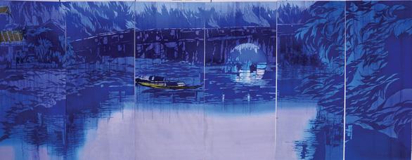 Họa sĩ Nhật triển lãm tranh nhuộm về VN ở bảo tàng Chăm - Ảnh 4.