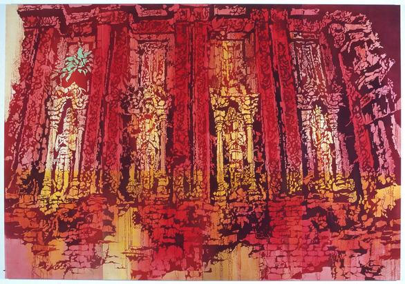 Họa sĩ Nhật triển lãm tranh nhuộm về VN ở bảo tàng Chăm - Ảnh 5.