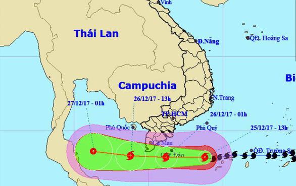 Bão Tembin hướng vào Côn Đảo, đang suy yếu dần - Ảnh 2.