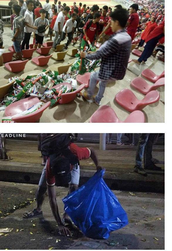 Học theo người Nhật, CĐV Myanmar dọn sạch rác sau trận đấu - Ảnh 2.