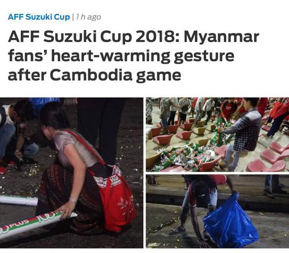 Học theo người Nhật, CĐV Myanmar dọn sạch rác sau trận đấu - Ảnh 1.