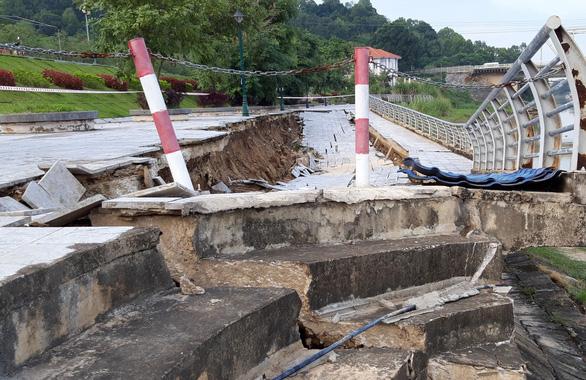 Công trình kè đê sông Mã trăm tỉ sụt lún nghiêm trọng - Ảnh 1.