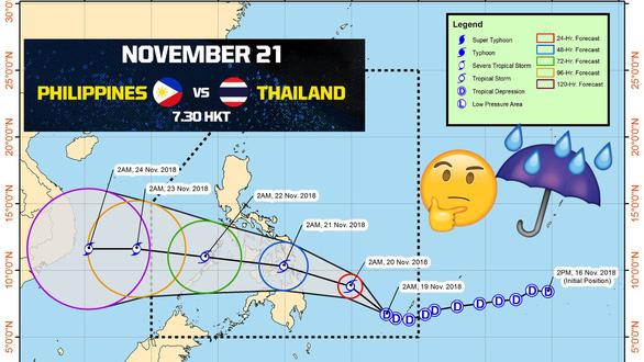 Bão Toraji đe dọa trận Philippines - Thái Lan - Ảnh 1.