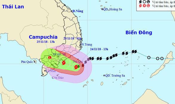 Bão cách TP.HCM 240km, tối nay 24-11 sẽ mưa lớn - Ảnh 1.