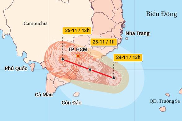 Bão cách TP.HCM 240km, tối nay 24-11 sẽ mưa lớn - Ảnh 2.