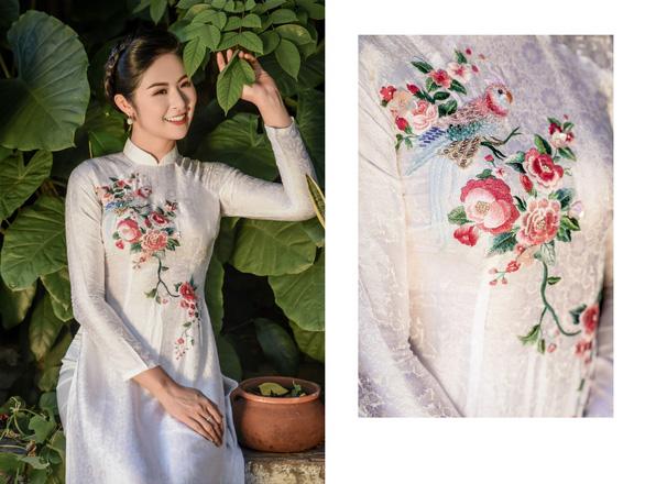 Áo dài Ngọc Hân cảm hứng Đường xưa mây trắng từ thiền sư Nhất Hạnh - Ảnh 12.