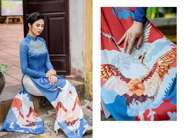 Áo dài Ngọc Hân cảm hứng Đường xưa mây trắng từ thiền sư Nhất Hạnh - Ảnh 3.