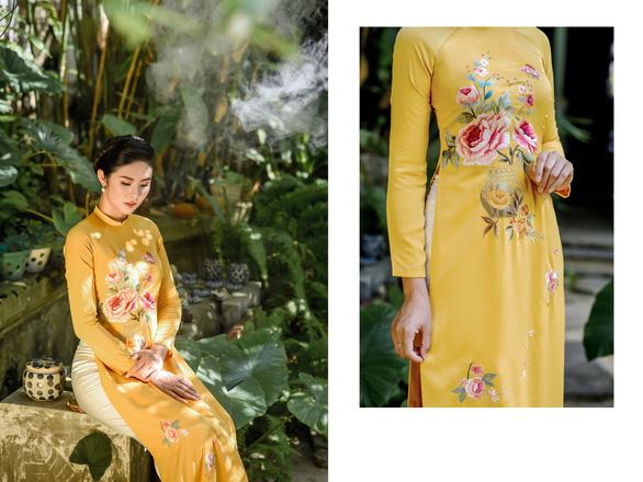 Áo dài Ngọc Hân cảm hứng Đường xưa mây trắng từ thiền sư Nhất Hạnh - Ảnh 8.
