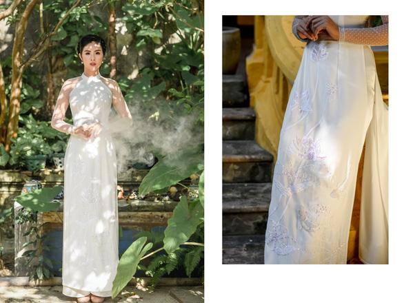 Áo dài Ngọc Hân cảm hứng Đường xưa mây trắng từ thiền sư Nhất Hạnh - Ảnh 6.