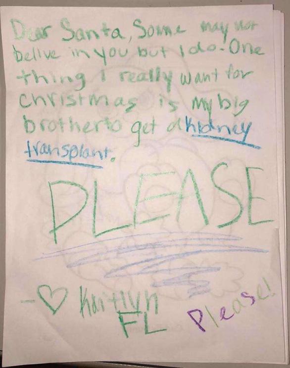 Mạng xã hội tìm bé gái viết thư xin ông già Noel tìm thận cho anh trai - Ảnh 2.