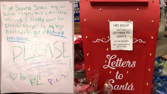 Mạng xã hội tìm bé gái viết thư xin ông già Noel tìm thận cho anh trai - Ảnh 1.