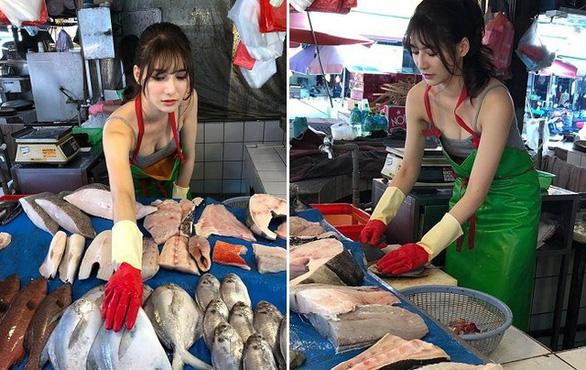 Dân mạng thích mê 'cô gái bán cá đẹp nhất' ở Đài Loan - Ảnh 4.
