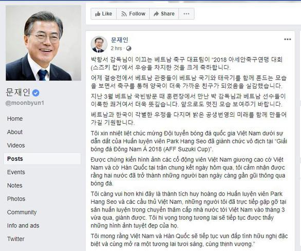 Tổng thống Hàn Quốc chúc mừng VN vô địch bằng tiếng Việt - Ảnh 1.
