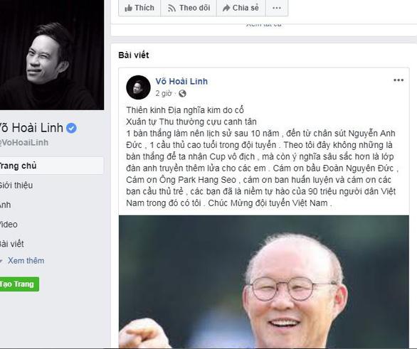 Facebook các nghệ sĩ nổi tiếng rộn ràng với Việt Nam vô địch - Ảnh 1.