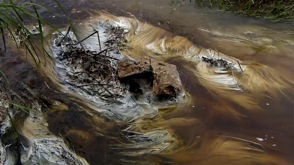 Nước thải đen ngòm từ nhà máy phân vi sinh chảy ra môi trường - Ảnh 3.