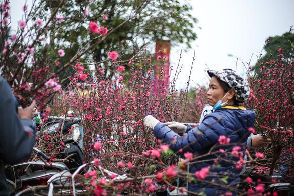 Dân Hà Nội đổ xô ra chợ hoa mua đào chơi Tết - Ảnh 9.