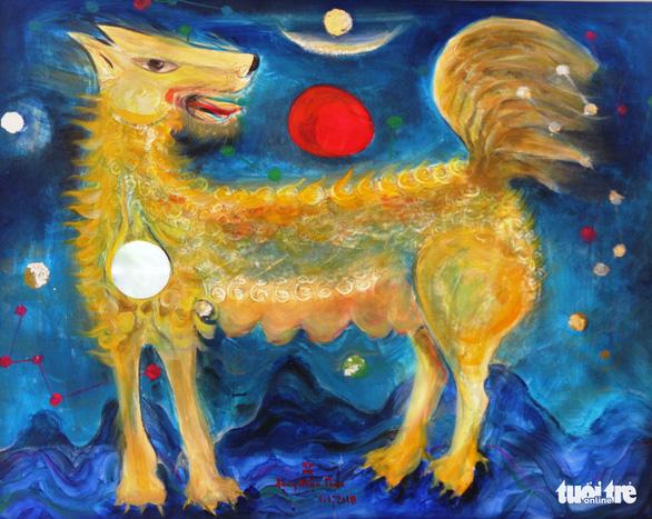 Dễ thương khi họa sĩ Huế vẽ tranh chó nhân năm Mậu Tuất - Ảnh 4.
