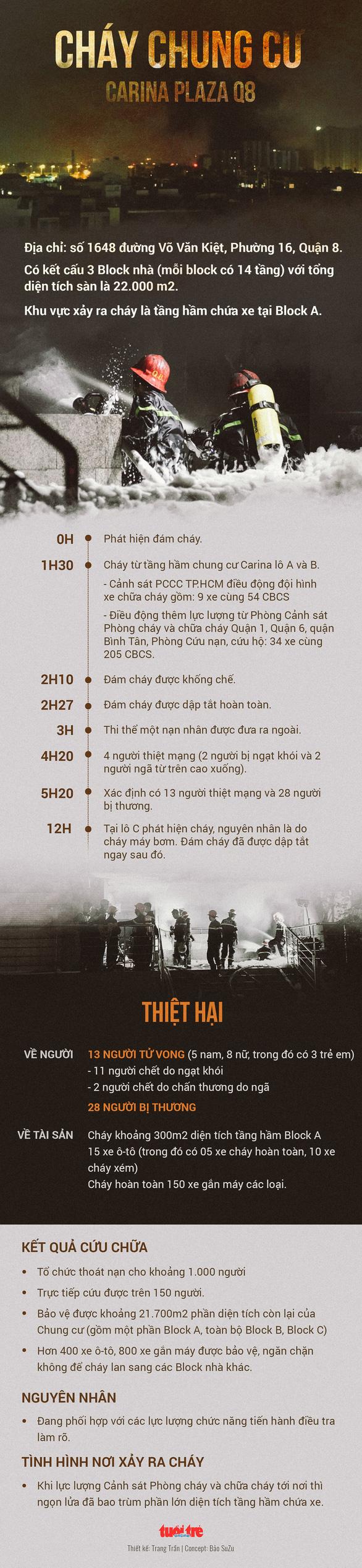 Toàn cảnh vụ cháy kinh hoàng chung cư Carina, 13 người chết - Ảnh 1.