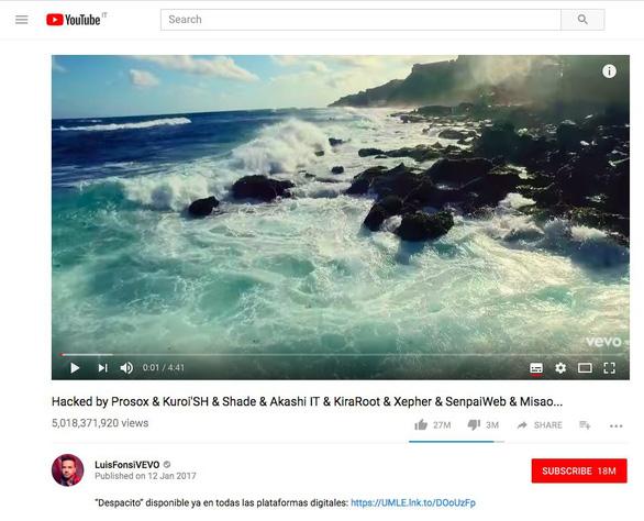 Despacito 5 tỉ lượt xem trên Youtube bị hack và xóa sổ - Ảnh 1.