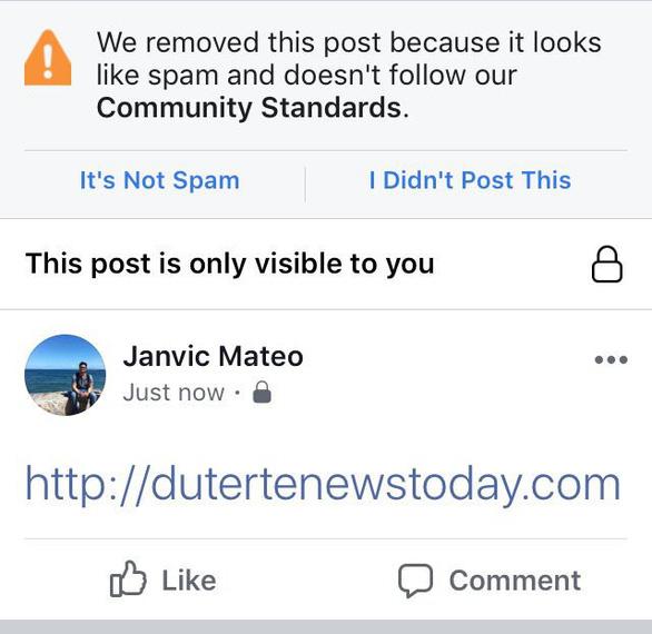 Facebook chặn trang web thân tổng thống Philippines để ngăn tin giả - Ảnh 1.