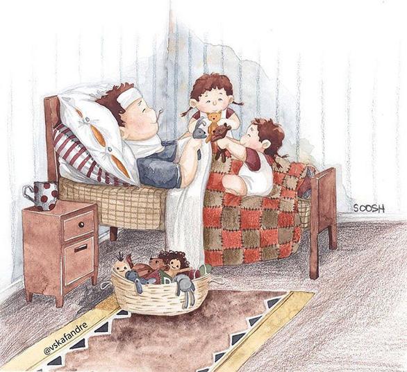 Hạnh phúc gia đình giản dị qua bộ ký họa dễ thương - Ảnh 11.