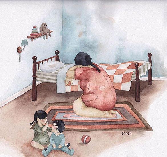 Hạnh phúc gia đình giản dị qua bộ ký họa dễ thương - Ảnh 3.