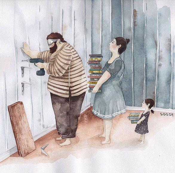 Hạnh phúc gia đình giản dị qua bộ ký họa dễ thương - Ảnh 7.