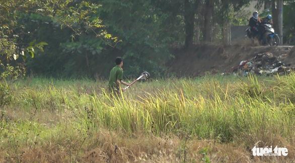 Cả trăm người bao vây, đốt bãi lau sậy tìm nghi can cướp xe máy - Ảnh 2.