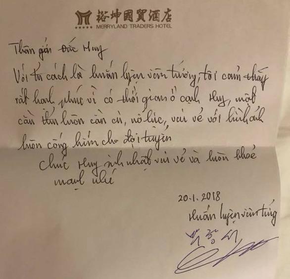 Tiết lộ thư tay HLV Park mừng sinh nhật học trò ở Thường Châu - Ảnh 1.